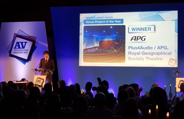 APG wins Best Venue Projet of the year at the AV Technology Awards 2019!